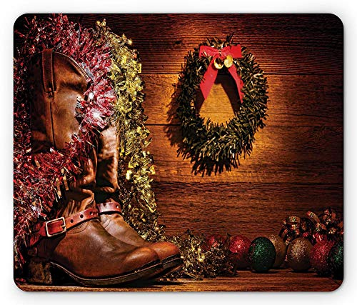 Western Mouse Pad, Country Design with Cowboy Boots and Christmas Celebrations in Vintage Cabin Lodge, Standard Size Rectangle Non-Slip Rubber Mousepad, Brown - Vintage Cabin