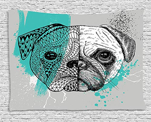 VTXWL Pug Tapestry, Hand Drawn Head of a Dog Blue Splashed Backdrop Two Different Halves of a Whole, Wall Hanging for Bedroom Living Room Dorm, 80 W X 60 L Inches, Blue Black White -