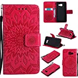 For Samsung Galaxy A3 2016 Case [Red],Cozy Hut [Wallet Case] Magnetic Flip Book Style Cover Case ,High Quality Classic New design Sunflower Pattern Design Premium PU Leather Folding Wallet Case With [Lanyard Strap] and [Credit Card Slots] Stand Function Folio Protective Holder Perfect Fit For Samsung Galaxy A3 (2016) SM- A310F 4.7 inch - red