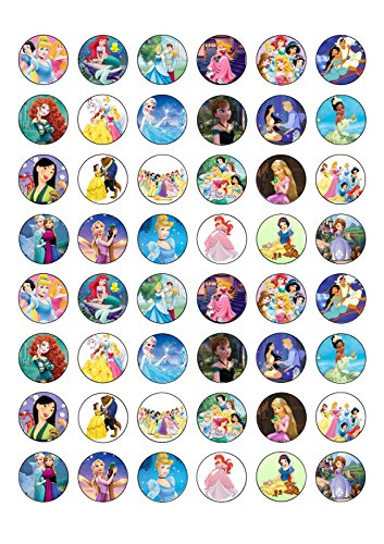 Esspapier-Kuchendeko-Set, Motiv: Frozen, verschiedene Prinzessinnen, Essbar, Waffel-Papier, Kuchen-Topper, 48-teilig (Cake Frozen Disney)