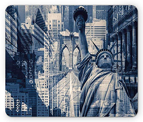 WYICPLO United States Mouse Pad, Double Exposure Image of Statue of Liberty York Buildings, Standard Size Rectangle Non-Slip Rubber Mousepad, Dark Blue Purplegrey -