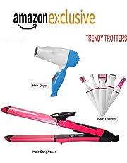 TRENDY TROTTERS Club Hair Straightener N-2009 with Dryer, 1000 Watt with Hair Remover Tool (Pack of 3)