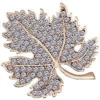 FENGJI Full Rhinestone Maple Leaf Brooch Pin Vintage Dress Coat Shinning Crystal Pins Gold
