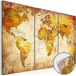 murando - Cuadro de cristal acrílico 90x60 cm - Cuadro de acrílico - Impresion en calidad fotografica - Mapamundi Carte Mundi Contintente k-B-0006-k-e