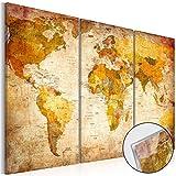 SENSATIONSPREIS Neuheit! Modernes Acrylglasbild 120x80 cm – 3 Teilig - 2 Formate zur Auswahl - Glasbilder – TOP – Wand Bild - Kunstdruck - Wandbild – Bilder - Weltkarte Landkarte Karte Welt Kontinente k-B-0006-k-e 120x80 cm