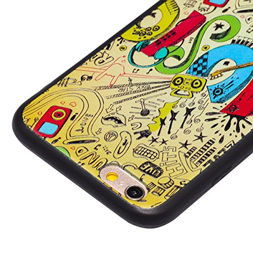 Custodia iPhone 6 Plus, ISAKEN Cover per Apple iPhone 6s plus(5.5) [TPU Shock-Absorption] - Colorate Sollievo Pattern Design Soft TPU sottile Custodia Case Nero Back Ultra Sottile TPU Morbido Protett MUSIC colorate