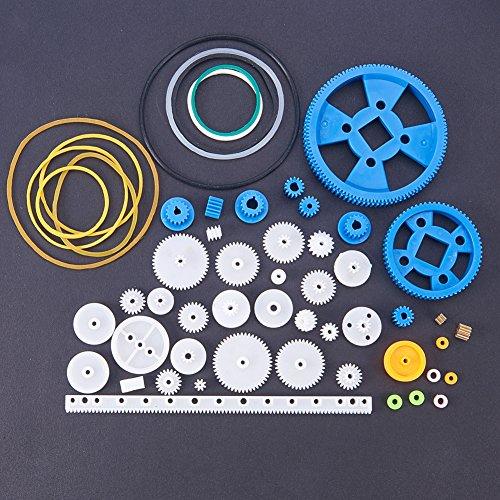 PandaHall Elite & reg DIY Kunststoffzahnradsätze, Professionelle Technische Kunststoffe, 80 arten / satz, Mischfarbe, 2 ~ 60mm