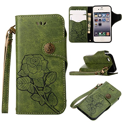 Cozy Hut iPhone 4/4S Hülle, Premium Tasche Cover Flip Case [Karteneinschub] [Magnetic Closure] [Standfunktion] Schutzhülle Handyhüllen für iPhone 4/4S - Retro grüne Rosen