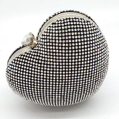 Herzförmige Abendtasche Diamant Strass Kristall Clutch High-end Bankett Partei Kette Tasche Black