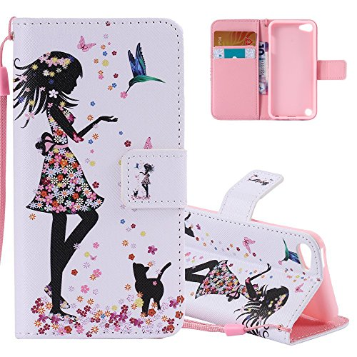 iPod Touch 5 Hülle Leder,iPod Touch 5 Hülle Mädchen,iPod Touch 6 Hülle Rosa,iPod Touch 5 / 6th Case,EMAXELERS iPod Touch 5 Kunstleder Flip Ledertasche Case Schutzhülle Wallet für iPod Touch 6,iPod Touch 5 Hülle Bunte Blumen Schmetterling Anime Muster PU Leder Wallet Case Schutzhülle iPod Touch 6 Handytasche Schale Handy Tasche Flip Cover mit Standfunktion für iPod Touch 6 / 5 Generation,Colorful Feeding Girl