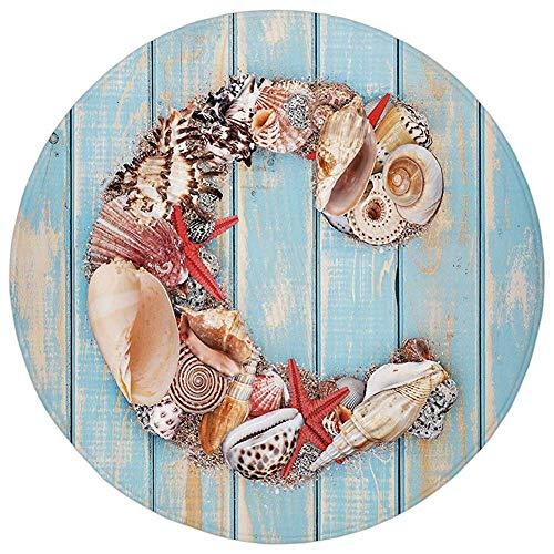 Round Rug Mat Carpet,Letter C,Marine Life Design Letter C from Alphabet on Soft Colored Backdrop Decorative,Pale Blue Ivory Dark Coral,Flannel Microfiber Non-slip Soft Absorbent,for Kitchen Floor Bath (Alphabet Jungle-teppich)
