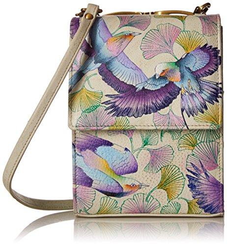Anuschka handbemalte Ledertaschen, Schultertasche für Damen, Geschenk für Frauen, Handgefertigte Handtasche, Kleine Umhängetasche mit einem langen Riemen (Wings of Hope 412 WHP) (Umhängetasche Anuschka)