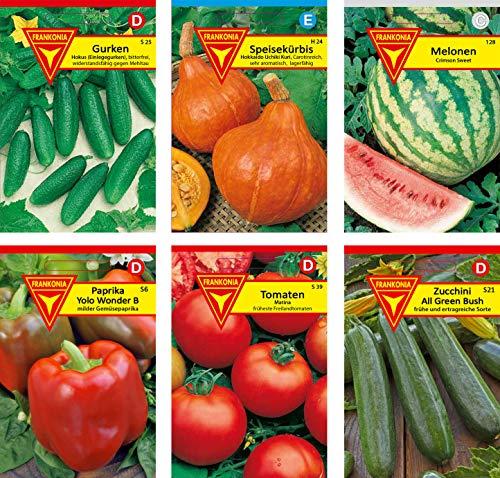 Frankonia-Samen / Fruchtgemüse/ Samen-Sortiment / 6 Fruchtgemüsesorten / Gurken / Speisekürbis / Melonen / Paprika / Tomate / Zucchini