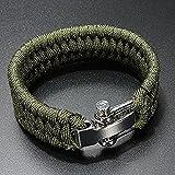 SODIAL(R)7 Strand survie Weave militaire Bracelet cordon Buckle - Vert