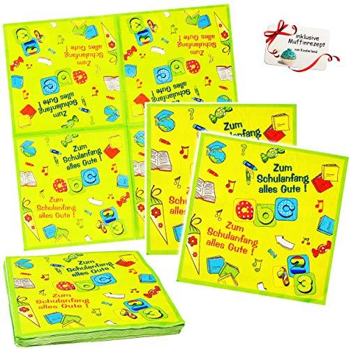 60 Stück _ Servietten -  zum Schulanfang Alles Gute !  - Buchstaben - ABC / Alphabet - Schuleinführung & Einschulung - Partygeschirr - Partyset - Serviette ..