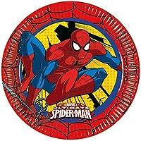 Procos 86668-Platos de papel de Spider-Man: Ultimate Power de 23cm de diámetro, color rojo, amarillo y azul, 8unidades