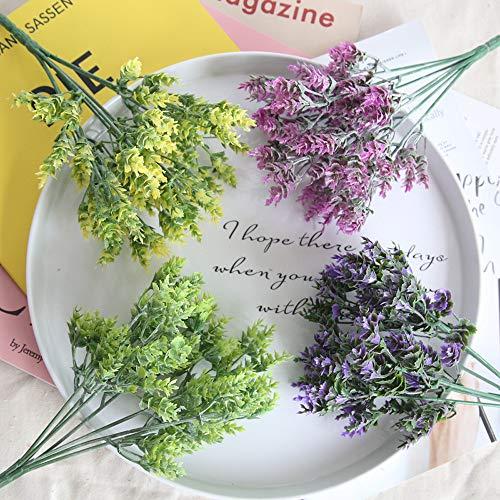 BZLine Kunstblumen, Künstliche Gefälschte Blumen, Kleine Frische Blätter Gras Pflanze Bouquet Grün Sträuche Pflanzen Indoor Außerhalb Hängende Pflanzer Hausgarten Hochzeit