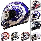 Leopard LEO-818 Full Face Helmet Scooter Motorcycle Motorbike Crash Helmet Blue Graphic S