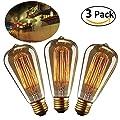 Edison Bulbs 40W E27 Vintage Light Bulbs ST64 220-240V 160lm 2500-2700K Warm White from YUNLIGHTS