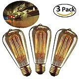 Vintage Edison Glühbirnen Retro Altmodische Stil Globe Schraube Birne 40W Dimmbar Dekorativ Spiral Faden Lampe E27 ST64 Warmweiß Licht - 3 Stück