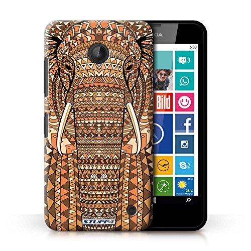 Coque en plastique pour Nokia Lumia 630 Collection Motif Animaux Aztec - Loup-Sépia éléphant-Orange