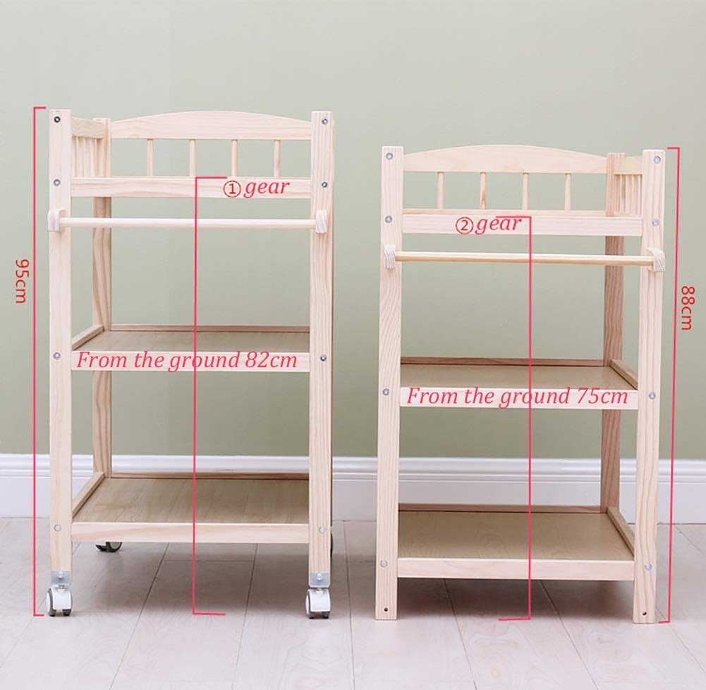 Baby Changing Table Dresser Unit with Mosquito Net & Storage Box, Heavy Duty Wood Diaper Station On Wheels GUYUE 2-gear higth adjustment (88-95cm), the height can be adjusted freely according to the height of the mother. Guardrail: Guardrail height 13cm, Protect your baby's delicate body. Strong and sturdy wood construction, Pine wood production, health and Environmental Protection.(Load bearing 150kg) 5