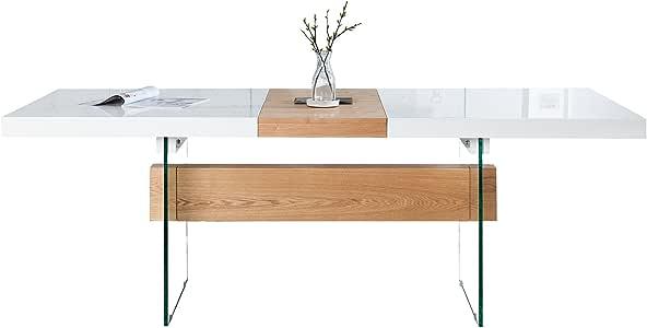 Invicta Interior Ausziehbarer Design Esstisch Onyx Weiss Hochglanz Eiche 160 200 cm