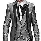 O.D.W Herren Übergrößen Anzug Glanzanzug Sakko mit Hose Weste Sakko Männeranzug Hochzeit 3-Teilig (Grau,56)