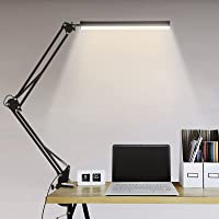 LED Desk Lamp with Clamp, 14W Swing Arm Desk Lamp, Eye-Caring Dimmable Desk Light with 10 Brightness Level, 3 Lighting…