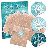24 kleine Papiertüte Weihnachten Geschenktüten weiß beige Punkte 13 x 18 cm + Weihnachtsaufkleber Sticker Schneeflocke Weihnachtsverpackung Verpackung