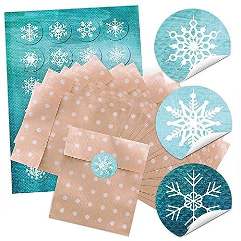 """24 braune Geschenktüten mit weißen/beigen Punkten (13 x 18 cm) und 24 runde Weihnachts-Aufkleber Sticker """"Flocken türkis weiß"""" zum liebenvollen Verpacken von kleinen Geschenken und anderen Dingen; 1a Qualität!"""