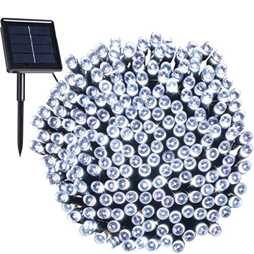 Solar Außen Lichterkette, 8 Modi 200er LED, 22 Meter Garten Märchenhaft Dekoration Licht für Weihnachten, Party, Hochzeit, Wohnungen(Weiß) IP44 Wasserdicht