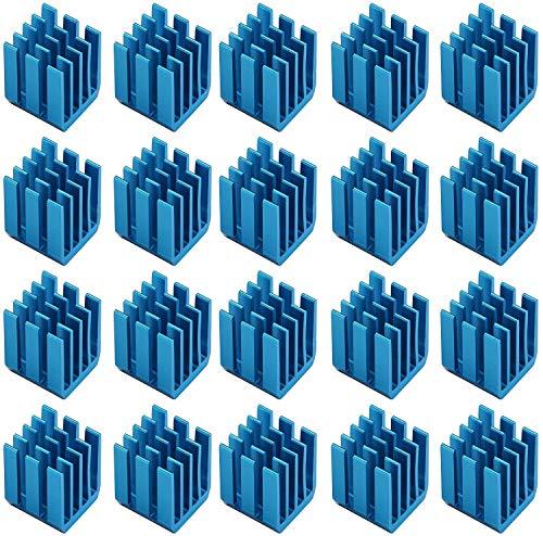 Easycargo 20 piezas Kit disipador calor para impresora 3D + Cinta adhesiva conductora térmica, disipador térmico para enfriar los módulos del controlador del motor paso a paso (9mmx9mmx12mm)