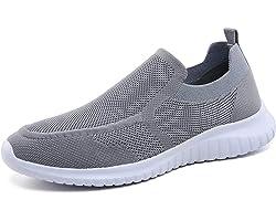 konhill Men Trainers Walking Shoes - Breathable Slip-on Lightweight Comfortable Tennis Mesh Sneakers