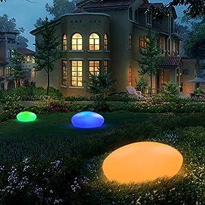 Gartenleuchte Solar, UOUNE Solarlampen für Außen 16 Farben IP54 Wasserdichte, Kieselstein Form Groß Solarleuchte für Garten/Hof/Teich/Pool