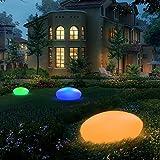 Gartenleuchte Solar, UOUNE LED Solarleuchten 16 Farben IP67 Wasserdichte, Kieselstein Form Innendurchmesser von 40 cm, solarleuchten für Garten/Hof/Teich/Pool