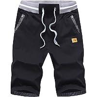 HCSS Mens Summer Shorts Casual with Elastic Waist and Big Pockets Cotton Shorts