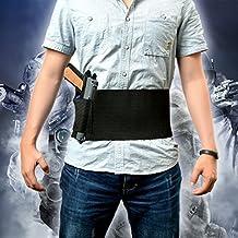 AGPtek ajustable táctico del vientre elástico banda de la cintura de la pistola pistolera 2 Revista - Las bolsas abdominal Banda pistolera de la pistola, Negro