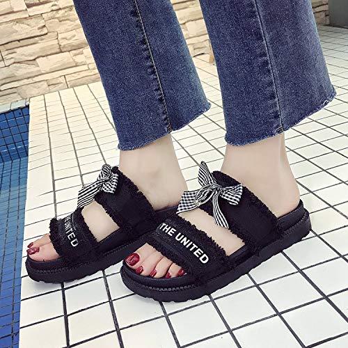 Uhrtimee Weibliche Sandals_European Station Sommer-Neue Muffin Bottom Brief Plattform Weibliche Sandalen Student Girl, Hausschuhe Schwarz, 37