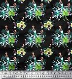 Soimoi Negro terciopelo Tela hojas tropicales, cresta y tucán pajaro tela estampada de 1 metro 58 Pulgadas de ancho