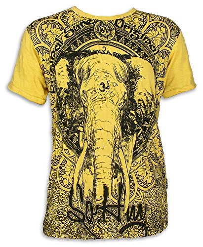 Sure Herren T-Shirt Ganesha OM Symbol Elefanten-Gott Indien Hinduismus Religion Goa (Gelb L)