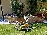 Sackkarren, Gartendeko Karre zum Bepflanzen, Blumentöpfe, Pflanzkübel, Pflanzkasten, Blumenkasten, Pflanzhilfe, Pflanzcontainer, Pflanztröge, Pflanzschale, Schubkarren 120 cm mit Holz - Deko HSOF-120-HELLGRAU Blumentopf, Holz, hellgrau weiss weiß - grau Lasur Pflanzgefäß, Pflanztöpfe Pflanzkübel