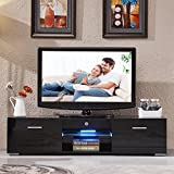 "UEnjoy Modern High Gloss TV Unit Cabinet LED TV Stand Glass Shelves for Living Room (Black 160cm/63"")"