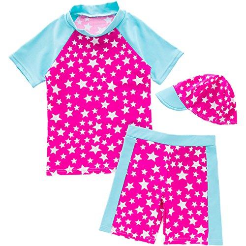 2 Stück Kurzarm Swimsuit Badeanzüge Star Print Sonnenschutz U V Rash Guard Bademode Schwimmanzug Mit Hut (Mädchen 2 Stück Bademode)