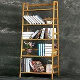 Woltu RG9256br Libreria 4 Ripiani Scaffale a Scala Scarpiera Mensole in Bambù Fioriera per Balcone 60x40x148cm