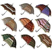 Vintage Zari ricamato seta pieghevole ombrellone base ombrellone estate bambini set di 5pezzi 61x 71cm