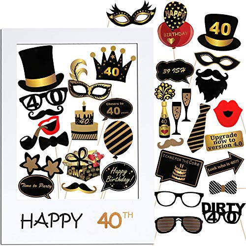 VINFUTUR 40th Cumpleaños Photo Booth Props, 35pcs Photobooth Cumpleaños Accesorios Fotocall para Cabina de Foto Props Fiesta Kit+Marco Photocall para Cumpleaños Decoración DIY