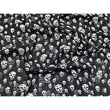 Gothic Skull Print Crinkle Chiffon Kleid Stoff, Meterware, Schwarz e353c853a7