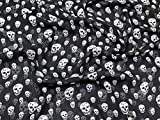 Gothic Skull Print Crinkle Chiffon Kleid Stoff, Meterware, Schwarz
