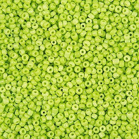 Opaco Giallo Verde Perline Rotondo Misura 11(2mm) 50g